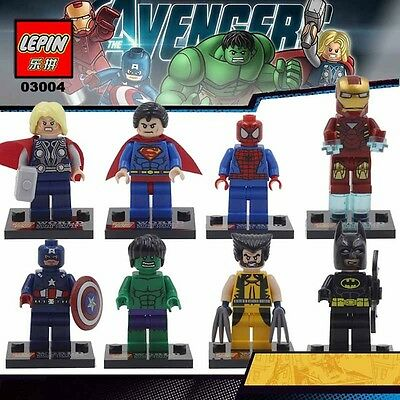 8 Pcs FITS WITH LEGO MINIFIGS MARVEL DC UNIVERSE MINIFIGURES SUPER HEROES COMIC