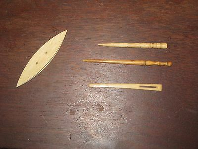 Antique Primitive Lacing Sewing Lot Thread Winder Bone Needle 2 Carved Holers