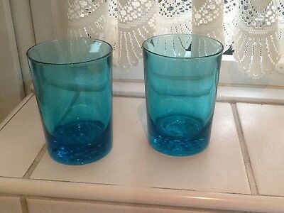 2 Blue Glass Whisky Glasses with dimple base