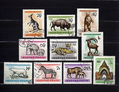 Hungary #1346-1355 Used Animals In The Budapest Zoo