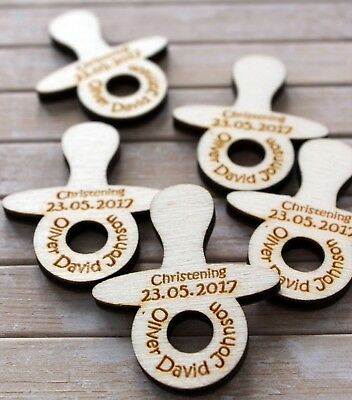 Dummy / Pacifier / Soother wooden PERSONALISED Baby Christening Table Confetti