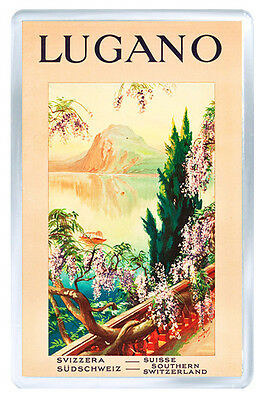 Lugano Switzerland Vintage Repro Fridge Magnet Souvenir Iman Nevera