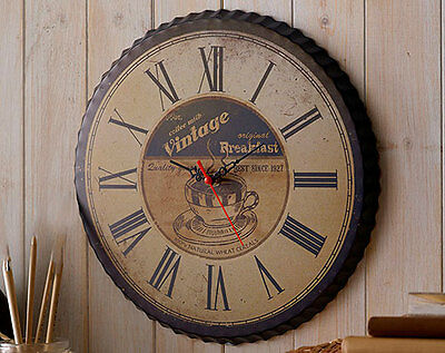 clock wall vintage large kitchen style home shabby chic round wooden antique new