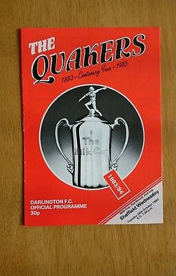 1983/84 DARLINGTON v SHEFFIELD WEDNESDAY  - LEAGUE CUP -  EXCELLENT CONDITION
