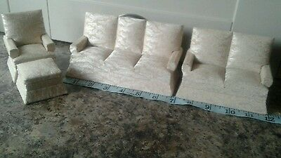 Vintage Set Dolls House Furniture - Sofa / Chairs.