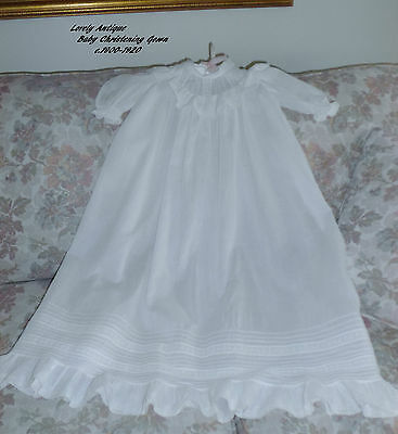 LOVELY Antique/Vtg Baby Christening Gown/Dress/Embroider/Pintucks/EXC!