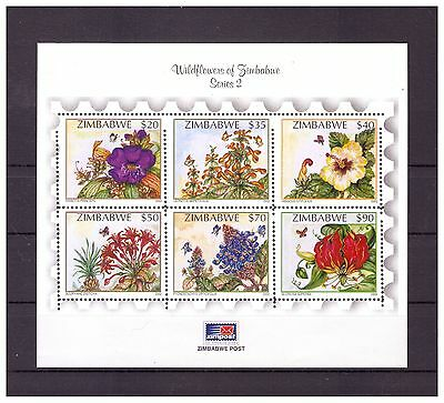 Zimbabwe 2002 Wild Flowers Ms Sg 1093 To 1098 Perforation Variety