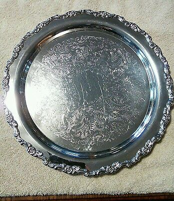 Oneida USA 15 - 1/2 inch round silverplated serving tray