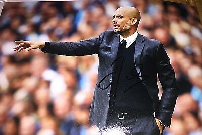 Pep Guardiola Manchester City Manager signed football photo