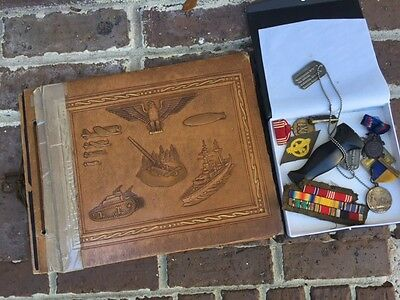 Estate Lot Grouping, Album, Ribbons, Medals, Dog Tag, Dagger Part