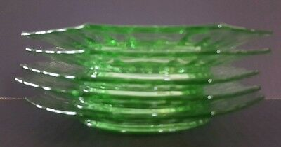 "(5) VINTAGE GREEN Depression Glass 7 1/4"" Octagon Desert/Lunch/Salad Plates"