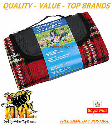 LARGE WATERPROOF PICNIC BLANKET 60 x 100CM RUG TRAVEL OUTDOOR BEACH CAMPING NEW
