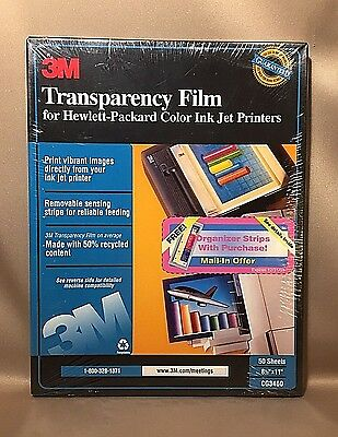 3M Transparency Film CG3460 for Color Ink Jet Printers 50 sheets New Sealed