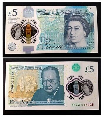 Great Britain 5 POUNDS ENGLAND 2016 QE II Victoria POLYMER @ Crisp Uncirculated