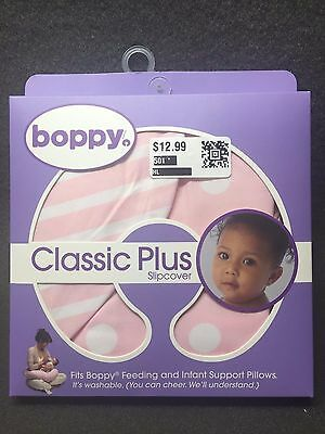 Boppy Pillow Cover / Slipcover, Classic Plus Polka Stripe Pink - Ships Today