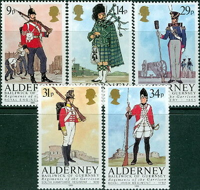 GB - ALDERNEY 1985 Regiments/Uniforms SG A23-A27 MNH