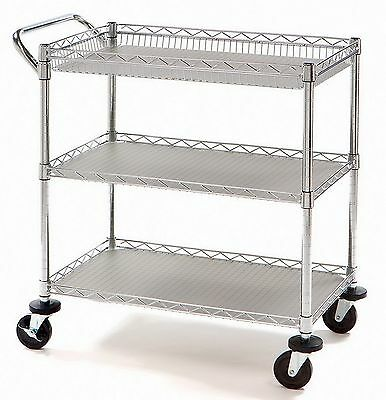 New 3 Shelf Rolling Steel Commercial Utility Cart Catering Tool Medical NSF