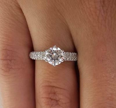 2 ct SI1 Round Cut Diamond Solitaire Engagement Ring White Gold 14k