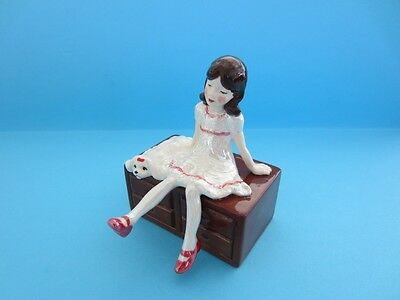 Hagen Renaker Girl Sitting On A Cabinet,her Maltese Dog,looking At Her Red Shoes