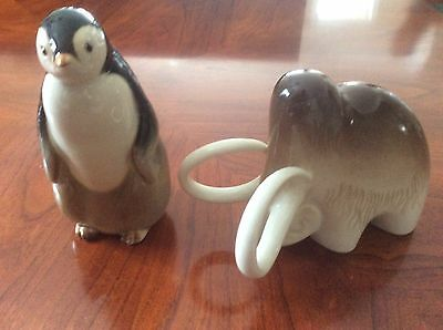 Vintage USSR Porcelain Penguin and Woolly Mammoth Collectables