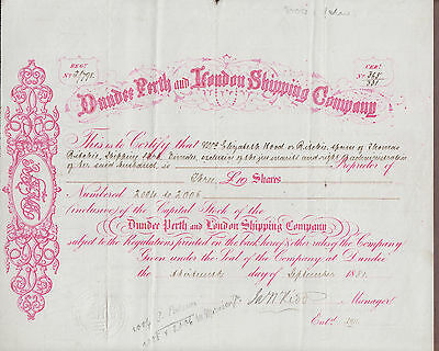 1881 Dundee Perth & London Shipping Company (Great Britain) Stock Certificate