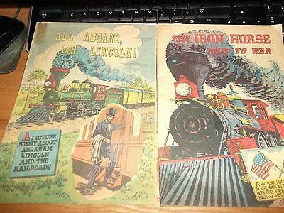 "2 Vintage Comics, ""all Aboard, Mr Lincoln"" And ""the Iron Horse Goes To War"""