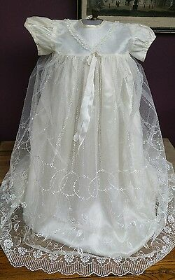 Gorgeous Vintage Baby Girl Christening Baptism Gown Robe Dress White Lace