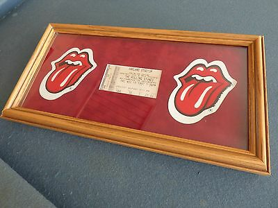 Rolling Stones Rock Concert Ticket Professionally Framed w/ Two John Pasche Lips