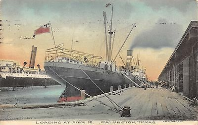 Ship Loading at Pier 12, Galveston, Texas, 1909 Hand Colored PC, Chas. Daferner