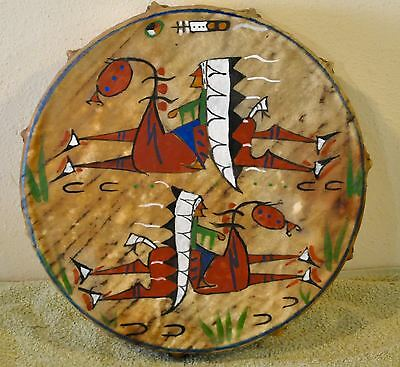 Two Chiefs/Native American Drum Painted by Lakota Artist Sonja Holy Eagle