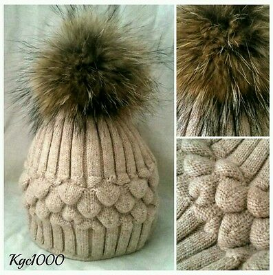 Oyster Pink Bobble Hat Fur Pom Pom Beanie Ribbed Knitted Hats Cashmere Mix Lined