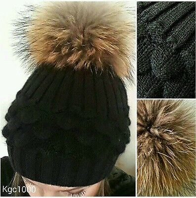 Black Bobble Hat Fur Pom Pom Beanie Ribbed Knitted Hats Lined Cashmere Blend