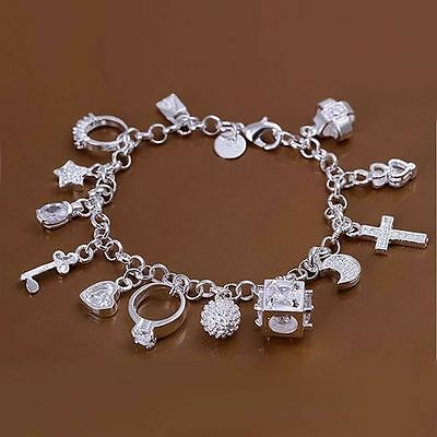 X5 JOB LOT 925 silver charms bracelet, ladies charm bracelet, fashion, free gift