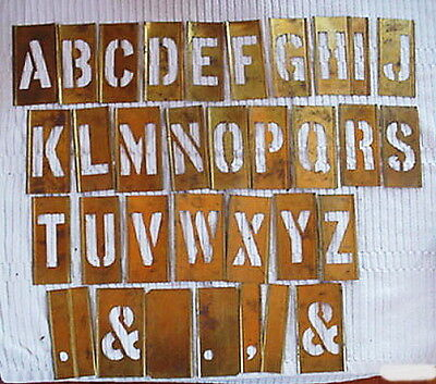 "Vintage Reese's Brass Lockedge  Stencils 3"" Letters A-Z Plus Extras w/Box"