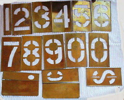 "Vintage Reese's Brass Lockedge  Stencils 6"" Numbers 0-9 Plus Extras w/Box"