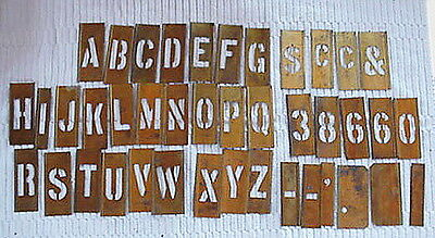 "Vintage Reese's Brass Lockedge  Stencils 2"" Letters A-Z Plus Extras w/Box"