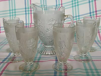 Jeanette Iris On Foot Of Six Tumblers With Iris Pitcher ~Super Rare
