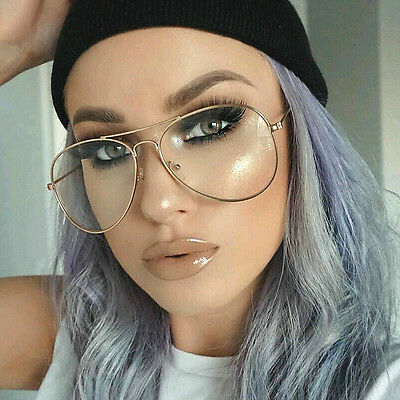96a72d3d2bc8 Clear Lens Aviator Gold Glasses Fashion Sunglasses Retro Vintage Style Metal