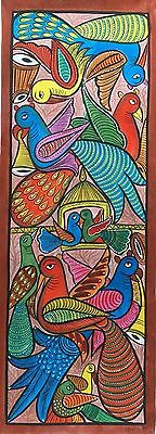 Exquisite Pata Chitra Scroll Painting 'Peacocks' Long Panel Indian Folk Art
