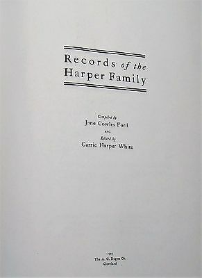 RECORDS of the HARPER FAMILY 1905 - GENEALOGY RESEARCH - 5 copies