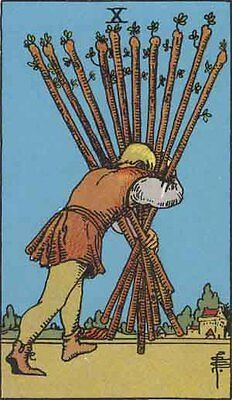 10 Ten of Wands INDIVIDUAL CARDS for Rider-Waite Tarot (Full Size)