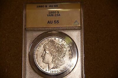 1880 $1 Morgan Silver Dollar VAM-19A AU55 Certified - lovely coin