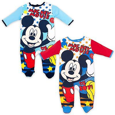 Disney Mickey Mouse Boys 100% Cotton Sleepsuit One Piece Baby grow Pyjamas pjs