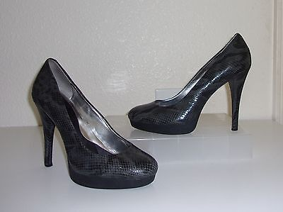 35543018f2a CALVIN KLEIN GRAY Croco / Snakeskin Embossed Leather Pumps Size 8 Heels  Shoes