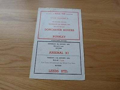 Doncaster Rovers v Burnley Friendly 1970