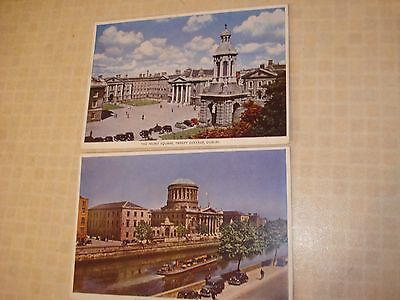 DUBLIN 2 1950's postcards FRONT SQUARE TRINITY COLLEGE and FOUR COURTS and QUAYS