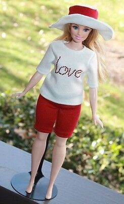 """Clothes for Curvy Barbie Doll. T-shirt """"Love"""", Shorts and Hat for Dolls."""