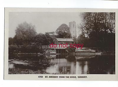 St Gregory's church from the river Stour, Sudbury, Suffolk RP postcard