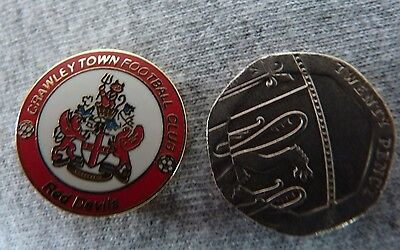 CRAWLEY TOWN F.C. RED DEVILS COAT of ARMS BADGE.  FREE POSTAGE.