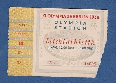 Orig.Ticket   Olympic Games BERLIN 1936  -  ATHLETICS 08.08. with Finals !! RARE